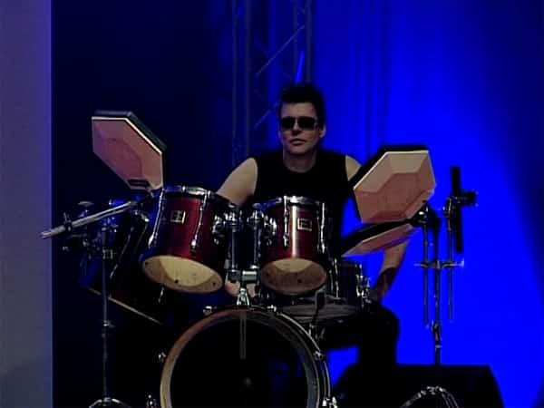 Drummer beim Auftritt in Bautzen